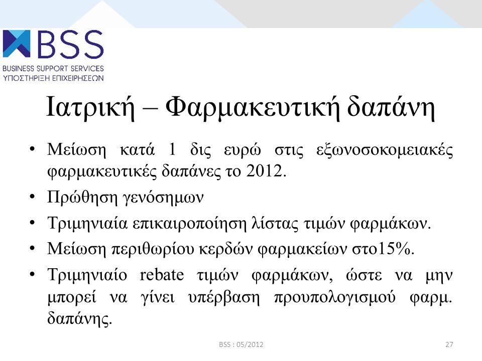 Ιατρική – Φαρμακευτική δαπάνη • Μείωση κατά 1 δις ευρώ στις εξωνοσοκομειακές φαρμακευτικές δαπάνες το 2012.