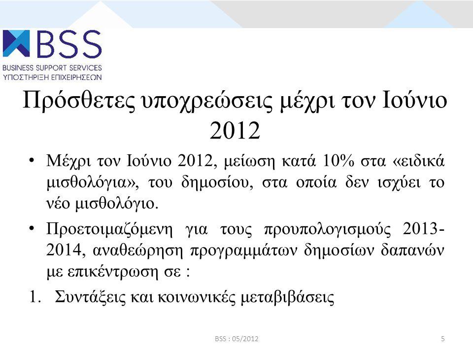 Πρόσθετες υποχρεώσεις μέχρι τον Ιούνιο 2012 • Μέχρι τον Ιούνιο 2012, μείωση κατά 10% στα «ειδικά μισθολόγια», του δημοσίου, στα οποία δεν ισχύει το νέο μισθολόγιο.