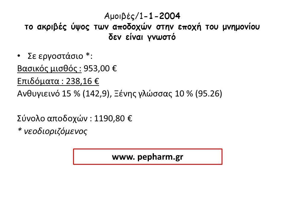 Αμοιβές/1-1-2004 το ακριβές ύψος των αποδοχών στην εποχή του μνημονίου δεν είναι γνωστό • Σε εργοστάσιο *: Βασικός μισθός : 953,00 € Επιδόματα : 238,1