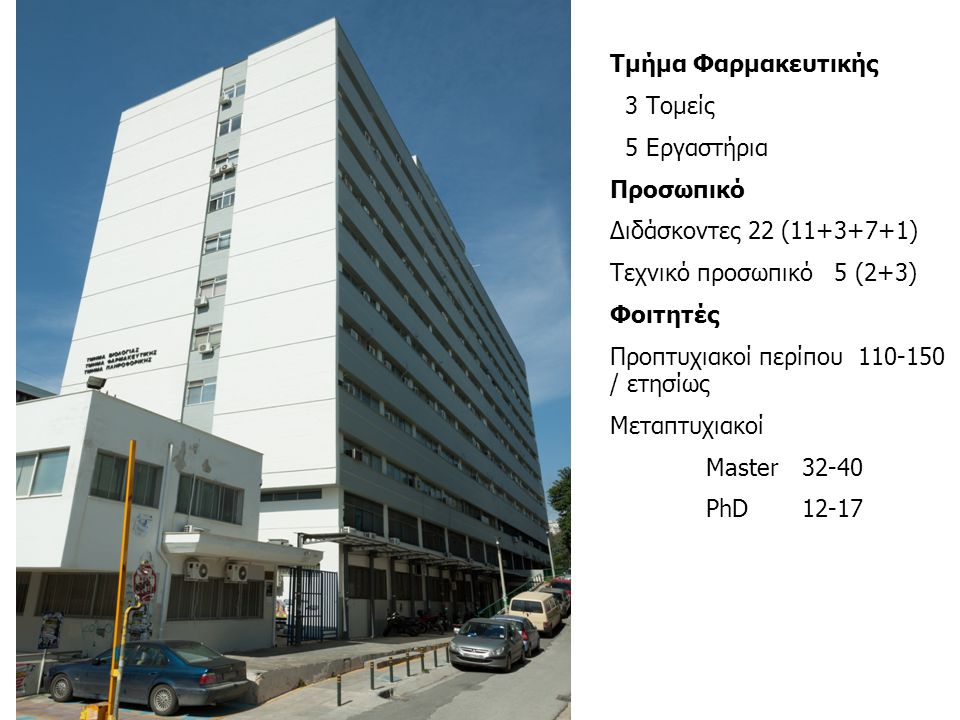 Τμήμα Φαρμακευτικής 3 Τομείς 5 Εργαστήρια Προσωπικό Διδάσκοντες 22 (11+3+7+1) Tεχνικό προσωπικό 5 (2+3) Φοιτητές Προπτυχιακοί περίπου 110-150 / ετησίω
