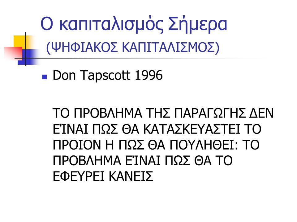 Ο καπιταλισμός Σήμερα (ΨΗΦΙΑΚΟΣ ΚΑΠΙΤΑΛΙΣΜΟΣ)  Don Tapscott 1996 ΤΟ ΠΡΟΒΛΗΜΑ ΤΗΣ ΠΑΡΑΓΩΓΗΣ ΔΕΝ ΕΊΝΑΙ ΠΩΣ ΘΑ ΚΑΤΑΣΚΕΥΑΣΤΕΙ ΤΟ ΠΡΟΙΟΝ Η ΠΩΣ ΘΑ ΠΟΥΛΗΘΕΙ: ΤΟ ΠΡΟΒΛΗΜΑ ΕΊΝΑΙ ΠΩΣ ΘΑ ΤΟ ΕΦΕΥΡΕΙ ΚΑΝΕΙΣ