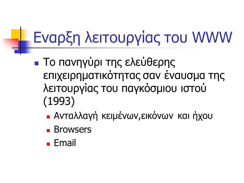 Εναρξη λειτουργίας του WWW  Το πανηγύρι της ελεύθερης επιχειρηματικότητας σαν έναυσμα της λειτουργίας του παγκόσμιου ιστού (1993)  Ανταλλαγή κειμένων,εικόνων και ήχου  Browsers  Email