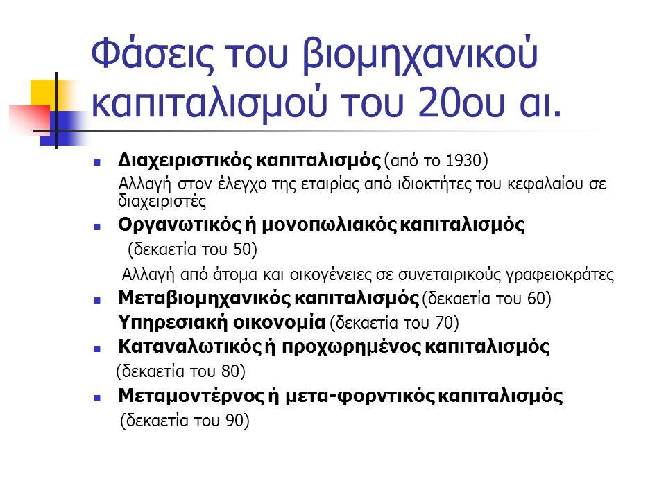 Φάσεις του βιομηχανικού καπιταλισμού του 20ου αι.