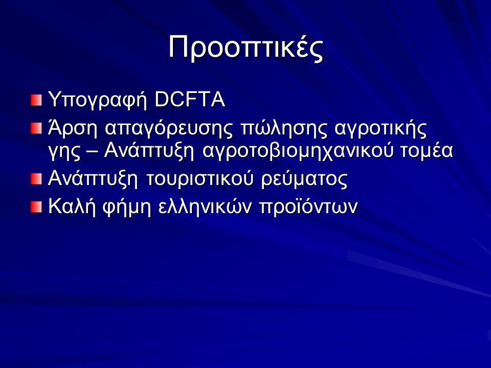 Προοπτικές Υπογραφή DCFTA Άρση απαγόρευσης πώλησης αγροτικής γης – Ανάπτυξη αγροτοβιομηχανικού τομέα Ανάπτυξη τουριστικού ρεύματος Καλή φήμη ελληνικών προϊόντων