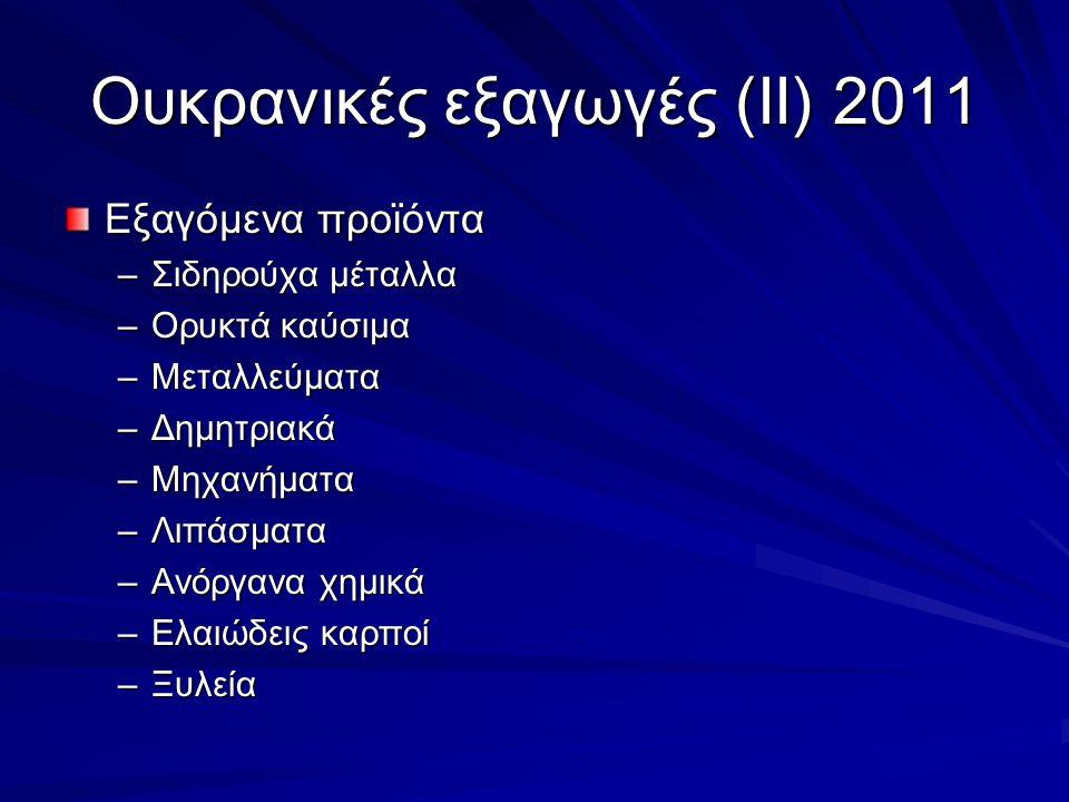 Ουκρανικές εξαγωγές (ΙΙ) 2011 Εξαγόμενα προϊόντα –Σιδηρούχα μέταλλα –Ορυκτά καύσιμα –Μεταλλεύματα –Δημητριακά –Μηχανήματα –Λιπάσματα –Ανόργανα χημικά