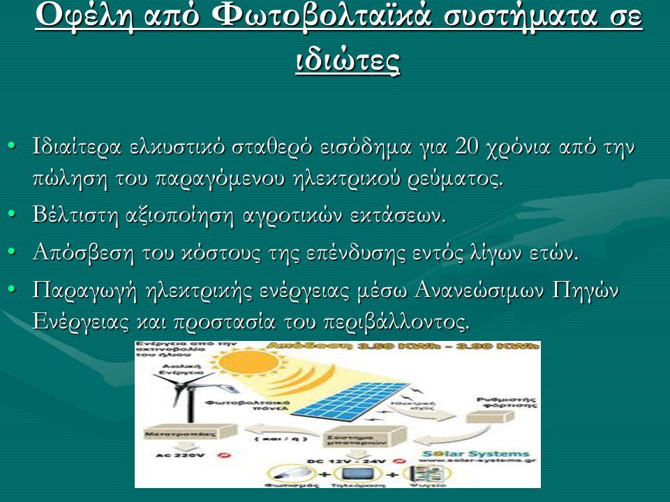 Οφέλη από Φωτοβολταϊκά συστήματα σε ιδιώτες Οφέλη από Φωτοβολταϊκά συστήματα σε ιδιώτες •Ιδιαίτερα ελκυστικό σταθερό εισόδημα για 20 χρόνια από την πώληση του παραγόμενου ηλεκτρικού ρεύματος.