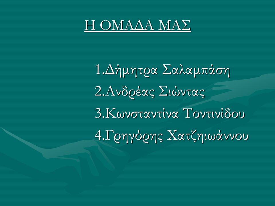 Η ΟΜΑΔΑ ΜΑΣ 1.Δήμητρα Σαλαμπάση 1.Δήμητρα Σαλαμπάση 2.Ανδρέας Σιώντας 2.Ανδρέας Σιώντας 3.Κωνσταντίνα Τοντινίδου 3.Κωνσταντίνα Τοντινίδου 4.Γρηγόρης Χατζηιωάννου 4.Γρηγόρης Χατζηιωάννου