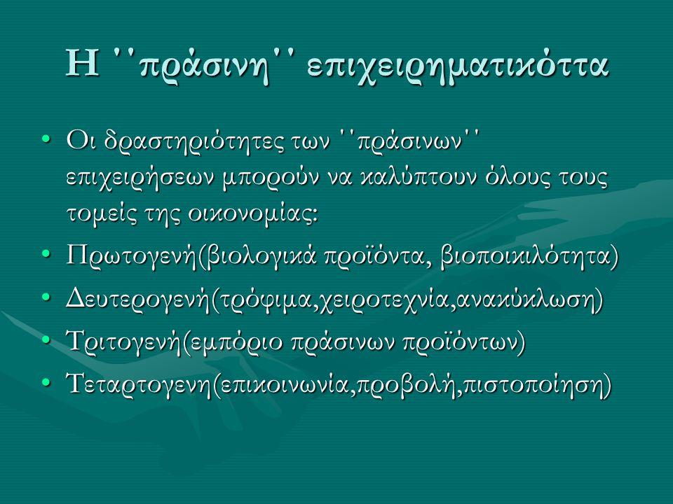 Η ΄΄πράσινη΄΄ επιχειρηματικόττα •Οι δραστηριότητες των ΄΄πράσινων΄΄ επιχειρήσεων μπορούν να καλύπτουν όλους τους τομείς της οικονομίας: •Πρωτογενή(βιολογικά προϊόντα, βιοποικιλότητα) •Δευτερογενή(τρόφιμα,χειροτεχνία,ανακύκλωση) •Τριτογενή(εμπόριο πράσινων προϊόντων) •Τεταρτογενη(επικοινωνία,προβολή,πιστοποίηση)