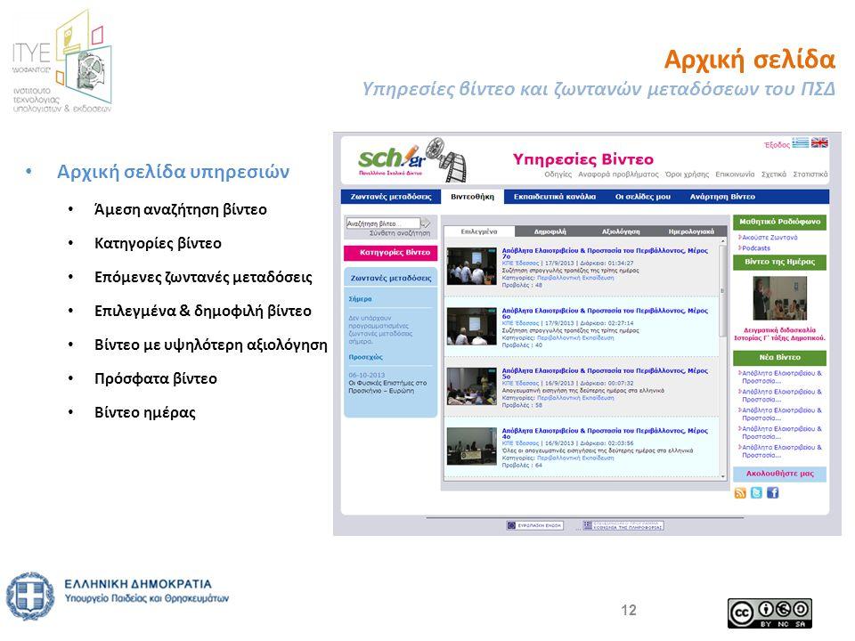 • Αρχική σελίδα υπηρεσιών • Άμεση αναζήτηση βίντεο • Κατηγορίες βίντεο • Επόμενες ζωντανές μεταδόσεις • Επιλεγμένα & δημοφιλή βίντεο • Βίντεο με υψηλότερη αξιολόγηση • Πρόσφατα βίντεο • Βίντεο ημέρας Αρχική σελίδα Υπηρεσίες βίντεο και ζωντανών μεταδόσεων του ΠΣΔ 12