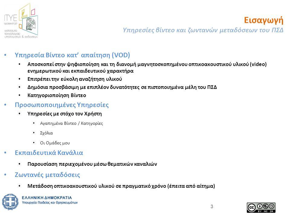 Εισαγωγή Υπηρεσίες βίντεο και ζωντανών μεταδόσεων του ΠΣΔ • Υπηρεσία Βίντεο κατ' απαίτηση (VOD) • Αποσκοπεί στην ψηφιοποίηση και τη διανομή μαγνητοσκοπημένου οπτικοακουστικού υλικού (video) ενημερωτικού και εκπαιδευτικού χαρακτήρα • Επιτρέπει την εύκολη αναζήτηση υλικού • Δημόσια προσβάσιμη με επιπλέον δυνατότητες σε πιστοποιημένα μέλη του ΠΣΔ • Κατηγοριοποίηση Βίντεο • Προσωποποιημένες Υπηρεσίες • Υπηρεσίες με στόχο τον Χρήστη • Αγαπημένα Βίντεο / Κατηγορίες • Σχόλια • Οι Ομάδες μου • Εκπαιδευτικά Κανάλια • Παρουσίαση περιεχομένου μέσω θεματικών καναλιών • Ζωντανές μεταδόσεις • Μετάδοση οπτικοακουστικού υλικού σε πραγματικό χρόνο (έπειτα από αίτημα) 3