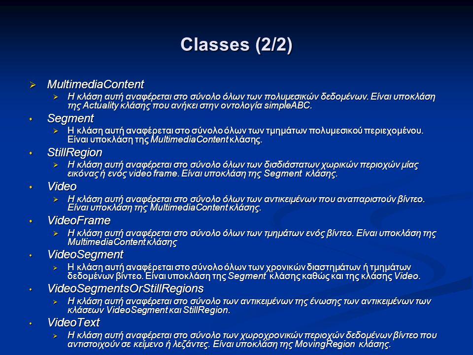 Classes (2/2)  MultimediaContent  Η κλάση αυτή αναφέρεται στο σύνολο όλων των πολυμεσικών δεδομένων.