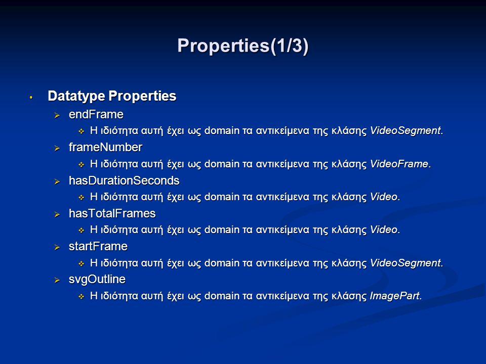 Properties(1/3) • Datatype Properties  endFrame  Η ιδιότητα αυτή έχει ως domain τα αντικείμενα της κλάσης VideoSegment.