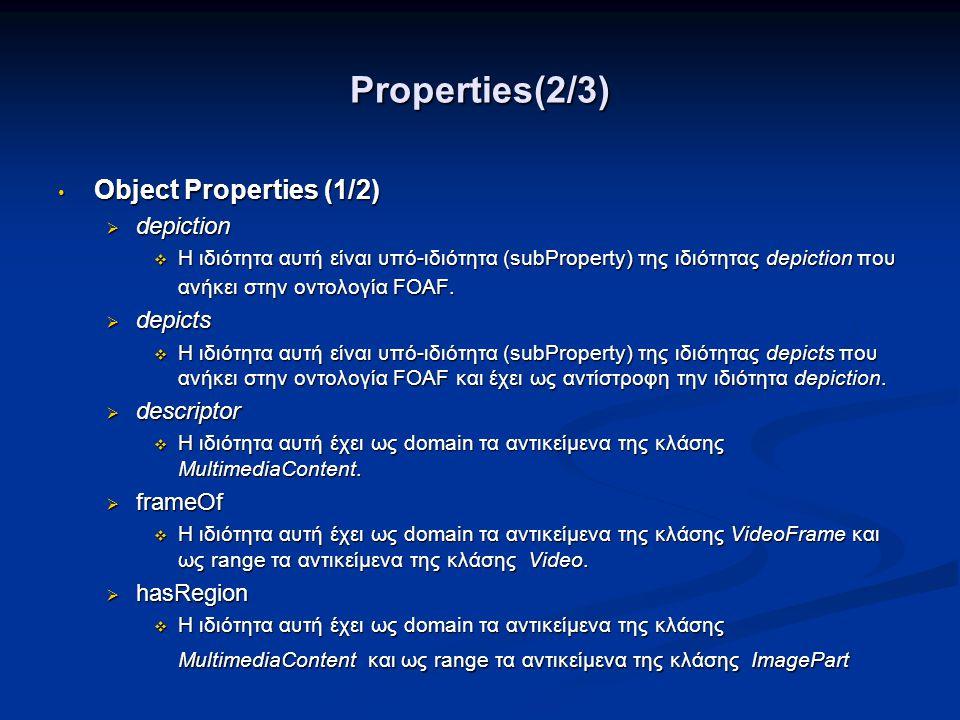 Properties(3/3) • Object Properties (2/2)  hasSegment  Η ιδιότητα αυτή έχει ως domain τα αντικείμενα της κλάσης Video και ως range τα αντικείμενα της κλάσης VideoSegment.