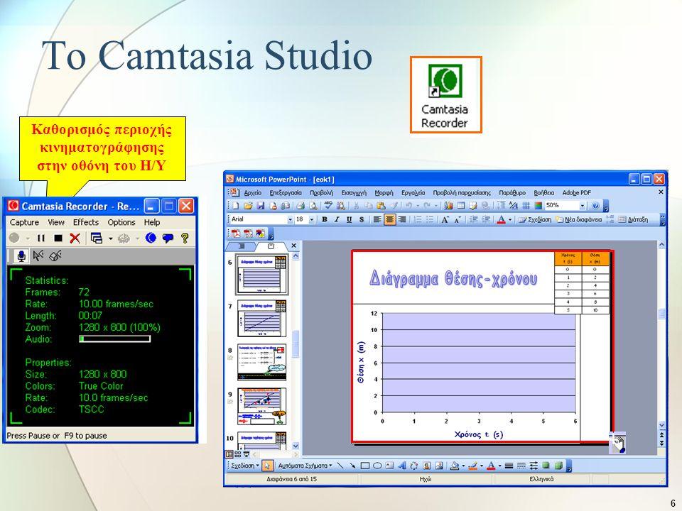 6 Καθορισμός περιοχής κινηματογράφησης στην οθόνη του Η/Υ Το Camtasia Studio Καταγραφή ήχου