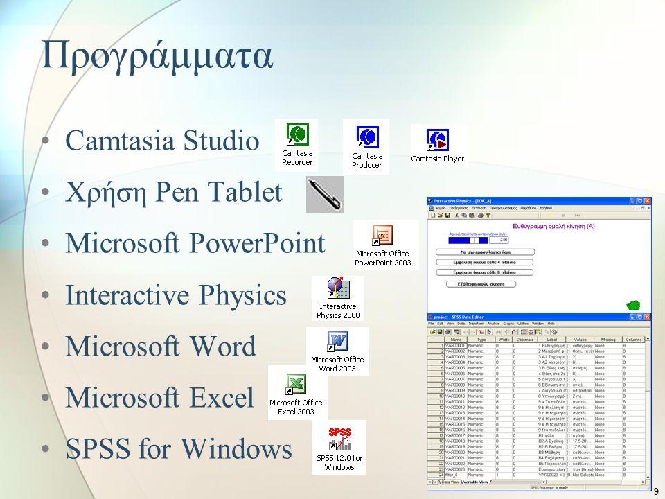 9 Προγράμματα •Camtasia Studio •Χρήση Pen Tablet •Microsoft PowerPoint •Interactive Physics •Microsoft Word •Microsoft Excel •SPSS for Windows