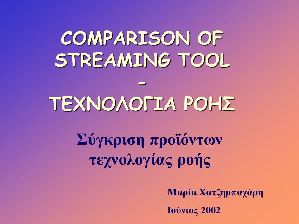 Προγράμματα αναπαραγωγής βίντεο •Real player •Net show •VIVO Player •VDO live •NetTOOB •Cineweb •Bamba κ.α Έρευνα 1998 •Quick time 5.0 •Real player •Windows Media player Έρευνα 2002