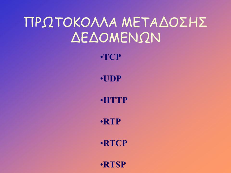 ΠΡΩΤΟΚΟΛΛΑ ΜΕΤΑΔΟΣΗΣ ΔΕΔΟΜΕΝΩΝ •TCP •UDP •HTTP •RTP •RTCP •RTSP