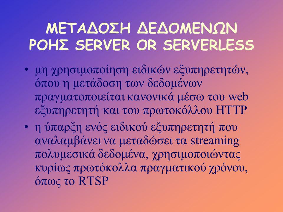 ΜΕΤΑΔΟΣΗ ΔΕΔΟΜΕΝΩΝ ΡΟΗΣ SERVER OR SERVERLESS •μη χρησιμοποίηση ειδικών εξυπηρετητών, όπου η μετάδοση των δεδομένων πραγματοποιείται κανονικά μέσω του web εξυπηρετητή και του πρωτοκόλλου HTTP •η ύπαρξη ενός ειδικού εξυπηρετητή που αναλαμβάνει να μεταδώσει τα streaming πολυμεσικά δεδομένα, χρησιμοποιώντας κυρίως πρωτόκολλα πραγματικού χρόνου, όπως το RTSP