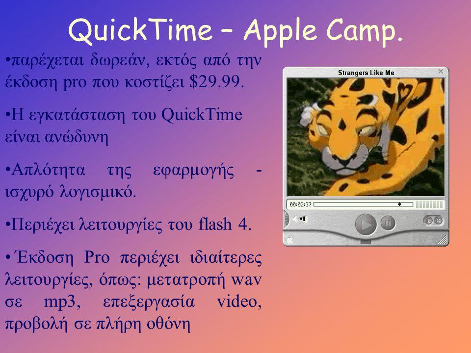 QuickTime – Apple Camp. •παρέχεται δωρεάν, εκτός από την έκδοση pro που κοστίζει $29.99.