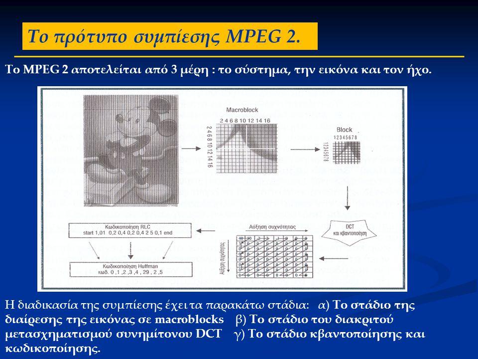 Το πρότυπο συμπίεσης MPEG 2. Το MPEG 2 αποτελείται από 3 μέρη : το σύστημα, την εικόνα και τον ήχο. Η διαδικασία της συμπίεσης έχει τα παρακάτω στάδια