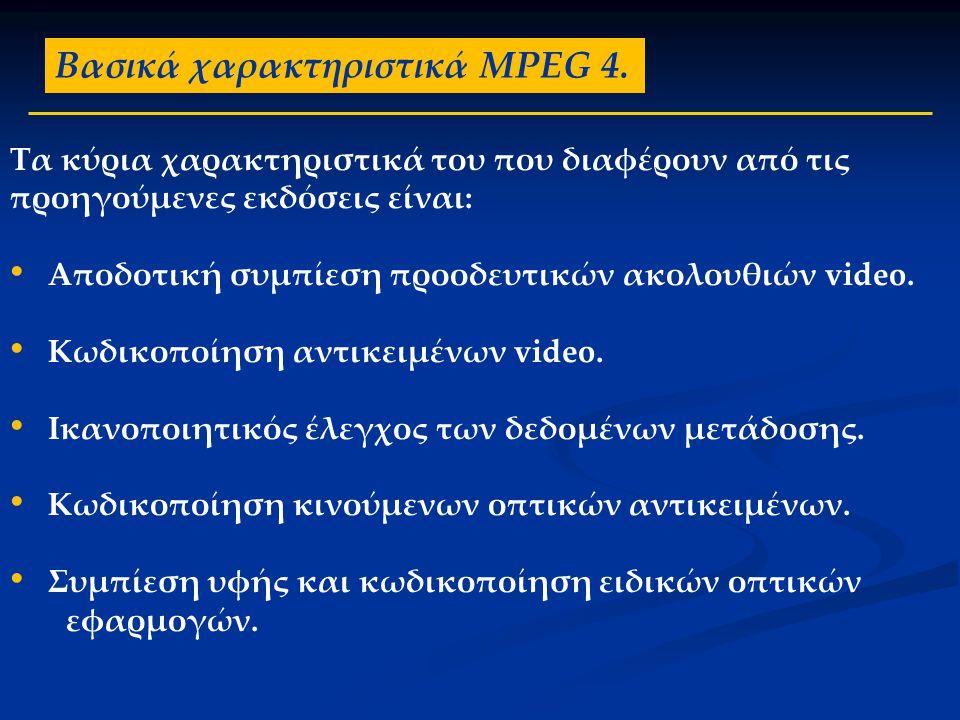 Βασικά χαρακτηριστικά MPEG 4. Τα κύρια χαρακτηριστικά του που διαφέρουν από τις προηγούμενες εκδόσεις είναι: • Αποδοτική συμπίεση προοδευτικών ακολουθ