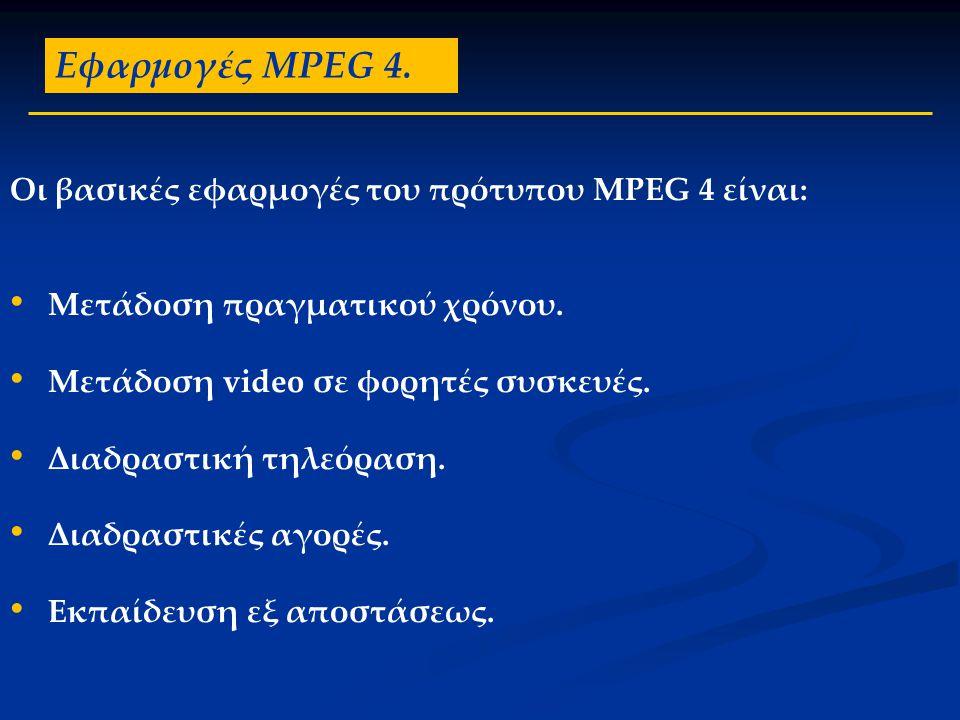 Εφαρμογές MPEG 4. Οι βασικές εφαρμογές του πρότυπου MPEG 4 είναι: • Μετάδοση πραγματικού χρόνου. • Μετάδοση video σε φορητές συσκευές. • Διαδραστική τ