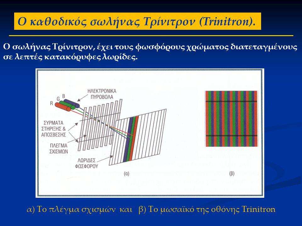 Ο καθοδικός σωλήνας Τρίνιτρον (Trinitron). Ο σωλήνας Τρίνιτρον, έχει τους φωσφόρους χρώματος διατεταγμένους σε λεπτές κατακόρυφες λωρίδες. α) Το πλέγμ