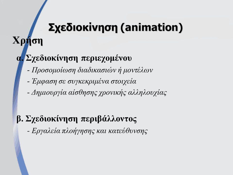 α.Σχεδιοκίνηση περιεχομένου Σχεδιοκίνηση (animation) β.