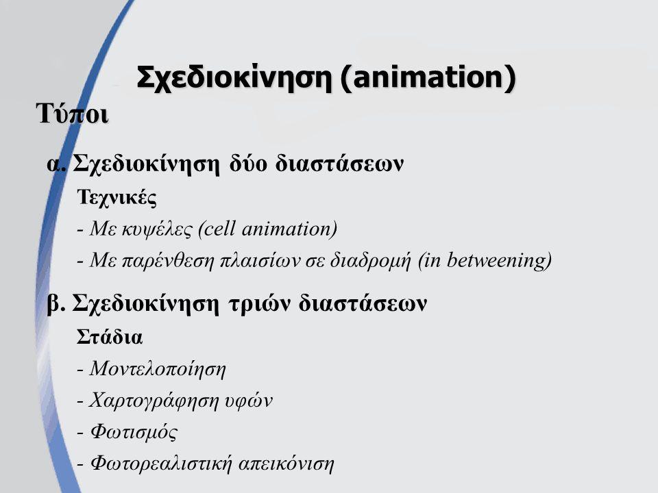 α.Σχεδιοκίνηση δύο διαστάσεων Σχεδιοκίνηση (animation) β.