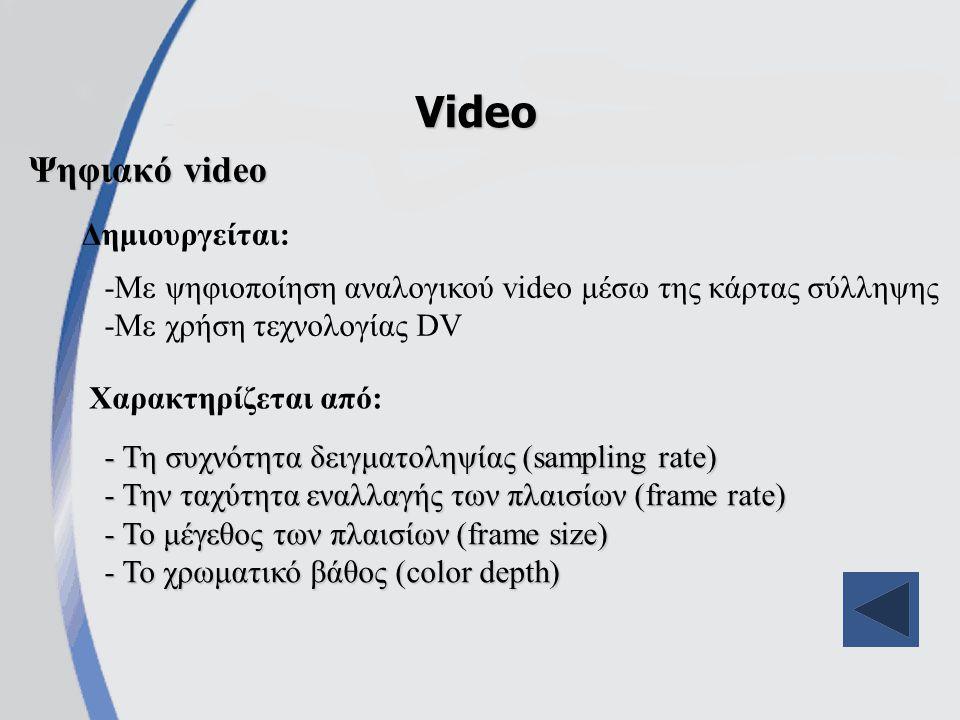 Ψηφιακό video Video - Τη συχνότητα δειγματοληψίας (sampling rate) - Την ταχύτητα εναλλαγής των πλαισίων (frame rate) - Το μέγεθος των πλαισίων (frame size) - Το χρωματικό βάθος (color depth) Χαρακτηρίζεται από: Δημιουργείται: -Με ψηφιοποίηση αναλογικού video μέσω της κάρτας σύλληψης -Με χρήση τεχνολογίας DV