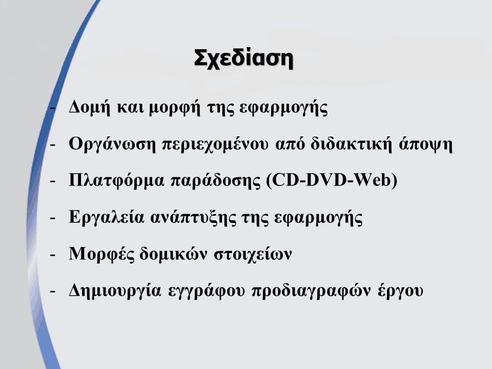 -Δομή και μορφή της εφαρμογής -Οργάνωση περιεχομένου από διδακτική άποψη -Πλατφόρμα παράδοσης (CD-DVD-Web) -Εργαλεία ανάπτυξης της εφαρμογής -Μορφές δομικών στοιχείων -Δημιουργία εγγράφου προδιαγραφών έργου Σχεδίαση
