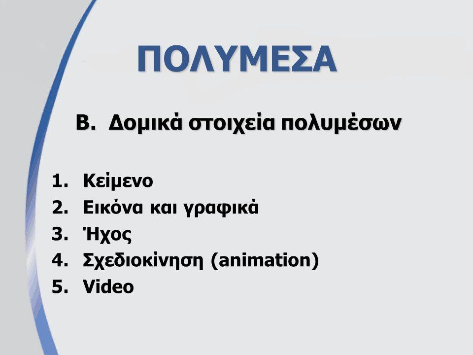 ΠΟΛΥΜΕΣΑ 1.Κείμενο 2.Εικόνα και γραφικά 3.Ήχος 4.Σχεδιοκίνηση (animation) 5.Video B.