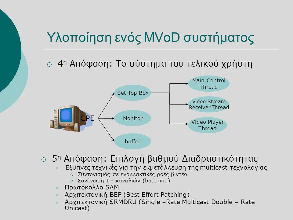 Υλοποίηση ενός MVoD συστήματος  4 η Απόφαση: Το σύστημα του τελικού χρήστη CPE Set Top Box Monitor buffer Main Control Thread Video Stream Receiver Thread Video Player Thread  5 η Απόφαση: Επιλογή βαθμού Διαδραστικότητας  Έξυπνες τεχνικές για την εκμετάλλευση της multicast τεχνολογίας  Συντονισμός σε εναλλακτικές ροές βίντεο  Συνένωση Ι – καναλιών (batching)  Πρωτόκολλο SAM  Αρχιτεκτονική BEP (Best Effort Patching)  Αρχιτεκτονική SRMDRU (Single –Rate Multicast Double – Rate Unicast)