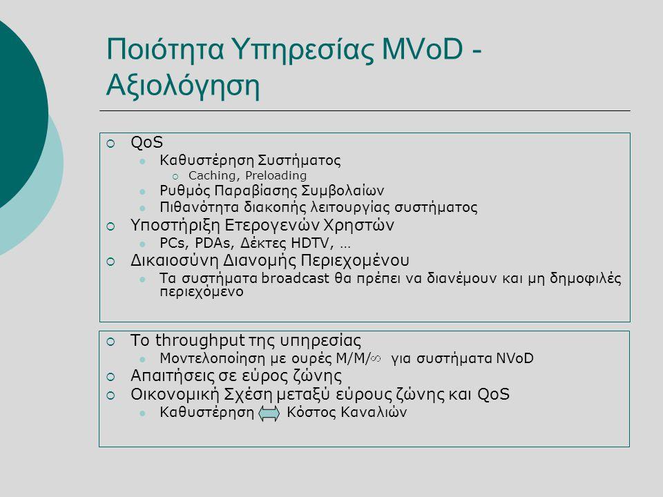 Ποιότητα Υπηρεσίας MVoD - Αξιολόγηση  QoS  Καθυστέρηση Συστήματος  Caching, Preloading  Ρυθμός Παραβίασης Συμβολαίων  Πιθανότητα διακοπής λειτουργίας συστήματος  Υποστήριξη Ετερογενών Χρηστών  PCs, PDAs, Δέκτες HDTV, …  Δικαιοσύνη Διανομής Περιεχομένου  Τα συστήματα broadcast θα πρέπει να διανέμουν και μη δημοφιλές περιεχόμενο  Το throughput της υπηρεσίας  Μοντελοποίηση με ουρές M/M/ για συστήματα NVoD  Απαιτήσεις σε εύρος ζώνης  Οικονομική Σχέση μεταξύ εύρους ζώνης και QoS  Καθυστέρηση Κόστος Καναλιών