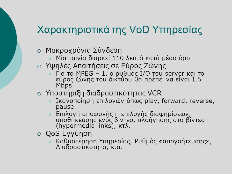 Χαρακτηριστικά της VoD Υπηρεσίας  Μακροχρόνια Σύνδεση  Μία ταινία διαρκεί 110 λεπτά κατά μέσο όρο  Υψηλές Απαιτήσεις σε Εύρος Ζώνης  Για το MPEG – 1, ο ρυθμός I/O του server και το εύρος ζώνης του δικτύου θα πρέπει να είναι 1.5 Mbps  Υποστήριξη διαδραστικότητας VCR  Ικανοποίηση επιλογών όπως play, forward, reverse, pause.