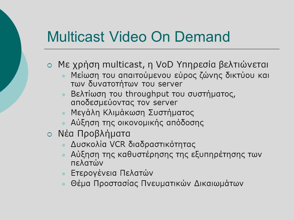 Multicast Video On Demand  Με χρήση multicast, η VoD Υπηρεσία βελτιώνεται  Μείωση του απαιτούμενου εύρος ζώνης δικτύου και των δυνατοτήτων του server  Βελτίωση του throughput του συστήματος, αποδεσμεύοντας τον server  Μεγάλη Κλιμάκωση Συστήματος  Αύξηση της οικονομικής απόδοσης  Νέα Προβλήματα  Δυσκολία VCR διαδραστικότητας  Αύξηση της καθυστέρησης της εξυπηρέτησης των πελατών  Ετερογένεια Πελατών  Θέμα Προστασίας Πνευματικών Δικαιωμάτων