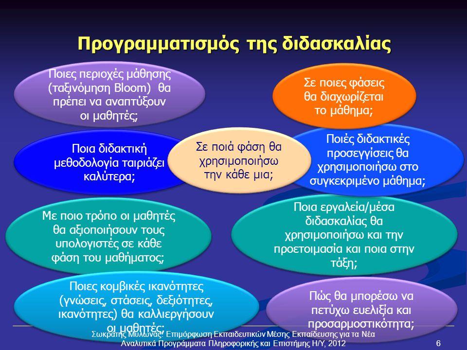Προγραμματισμός της διδασκαλίας Ποιες περιοχές μάθησης (ταξινόμηση Bloom) θα πρέπει να αναπτύξουν οι μαθητές; Ποια εργαλεία/μέσα διδασκαλίας θα χρησιμοποιήσω και την προετοιμασία και ποια στην τάξη; Με ποιο τρόπο οι μαθητές θα αξιοποιήσουν τους υπολογιστές σε κάθε φάση του μαθήματος; Ποια διδακτική μεθοδολογία ταιριάζει καλύτερα; Ποιές διδακτικές προσεγγίσεις θα χρησιμοποιήσω στο συγκεκριμένο μάθημα; Σε ποιες φάσεις θα διαχωρίζεται το μάθημα; Ποιες κομβικές ικανότητες (γνώσεις, στάσεις, δεξιότητες, ικανότητες) θα καλλιεργήσουν οι μαθητές; Πώς θα μπορέσω να πετύχω ευελιξία και προσαρμοστικότητα; Σε ποιά φάση θα χρησιμοποιήσω την κάθε μια; Σωκράτης Μυλωνάς: Επιμόρφωση Εκπαιδευτικών Μέσης Εκπαίδευσης για τα Νέα Αναλυτικά Προγράμματα Πληροφορικής και Επιστήμης Η/Υ, 20126