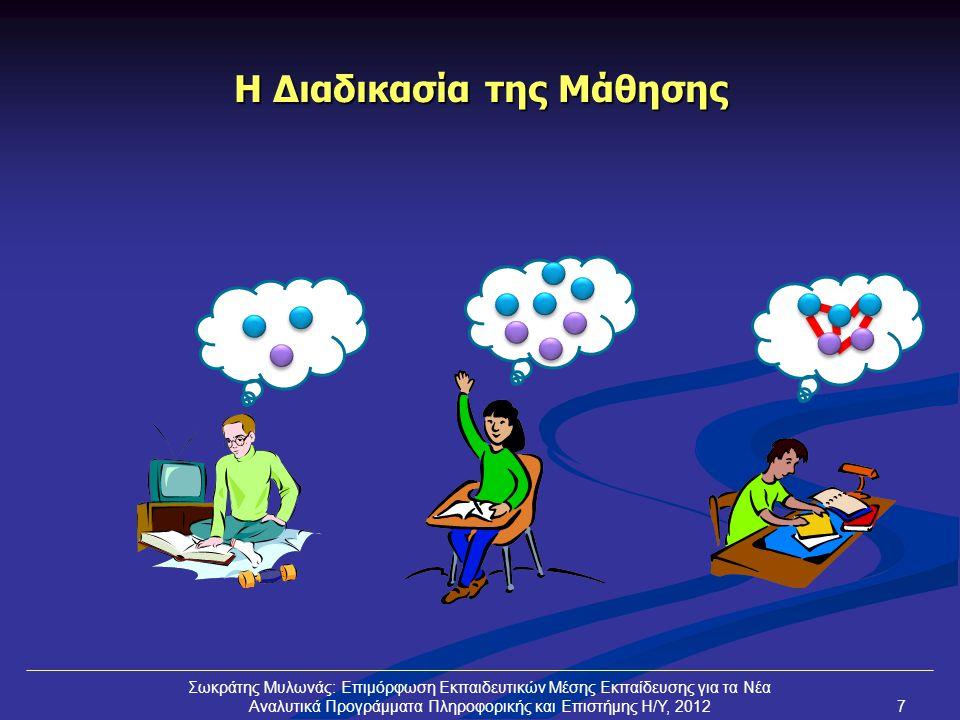 Ταξινόμηση (Bloom) Γνώση Κατανόηση Εφαρμογή Ανάλυση Αξιολόγηση Δημιουργία Καθορίζουμε μέχρι ποιό στάδιο στοχεύουμε για το μάθημά μας Μαθητής που κατέχει (προαπαιτούμενη) γνώση Μαθητής που χρειάζεται να αποκτήσει (προαπαιτούμενη) γνώση «Χαρισματικός» μαθητής (προχωρεί μέσα από επιπρόσθετες δραστηριότητες) Σωκράτης Μυλωνάς: Επιμόρφωση Εκπαιδευτικών Μέσης Εκπαίδευσης για τα Νέα Αναλυτικά Προγράμματα Πληροφορικής και Επιστήμης Η/Υ, 20128