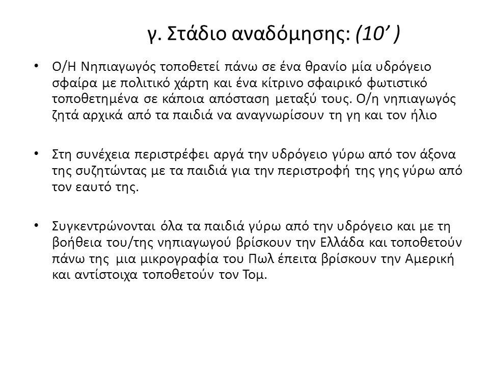• Ο /Η Νηπιαγωγός ανάβει τη λάμπα έτσι ώστε να φωτίζεται η Ελλάδα και ρωτάει 'Για κοιτάξτε πού φωτίζει ο ήλιος; Εμείς είμαστε σε αυτό το μέρος, συμφωνείτε; Υπάρχει κάποιος που διαφωνεί; Πιστεύετε ότι στην Ελλάδα είναι μέρα ή νύχτα; ' • Ο/Η Νηπιαγωγός περιστρέφει την υδρόγειο και την τοποθετεί σε σημείο όπου φωτίζεται η Αμερική και εμφανώς όχι η Ελλάδα.