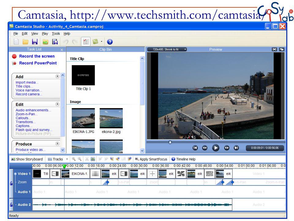 Camtasia, http://www.techsmith.com/camtasia/