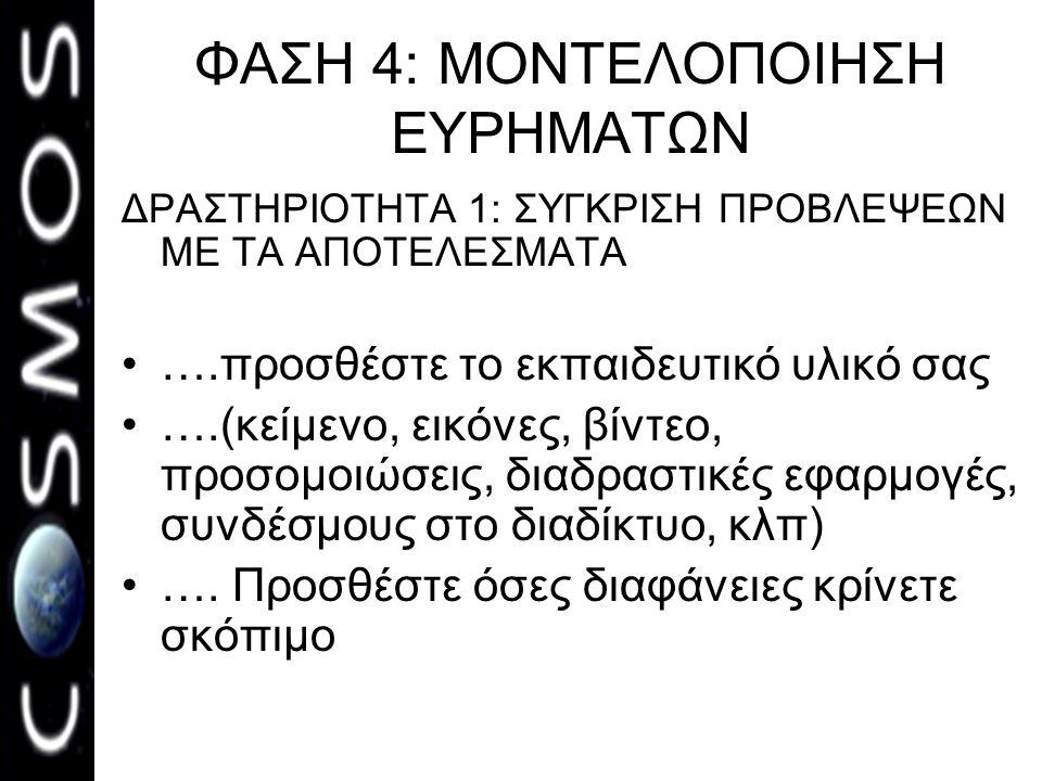 ΦΑΣΗ 4: ΜΟΝΤΕΛΟΠΟΙΗΣΗ ΕΥΡΗΜΑΤΩΝ ΔΡΑΣΤΗΡΙΟΤΗΤΑ 1: ΣΥΓΚΡΙΣΗ ΠΡΟΒΛΕΨΕΩΝ ΜΕ ΤΑ ΑΠΟΤΕΛΕΣΜΑΤΑ •….προσθέστε το εκπαιδευτικό υλικό σας •….(κείμενο, εικόνες, βίντεο, προσομοιώσεις, διαδραστικές εφαρμογές, συνδέσμους στο διαδίκτυο, κλπ) •….