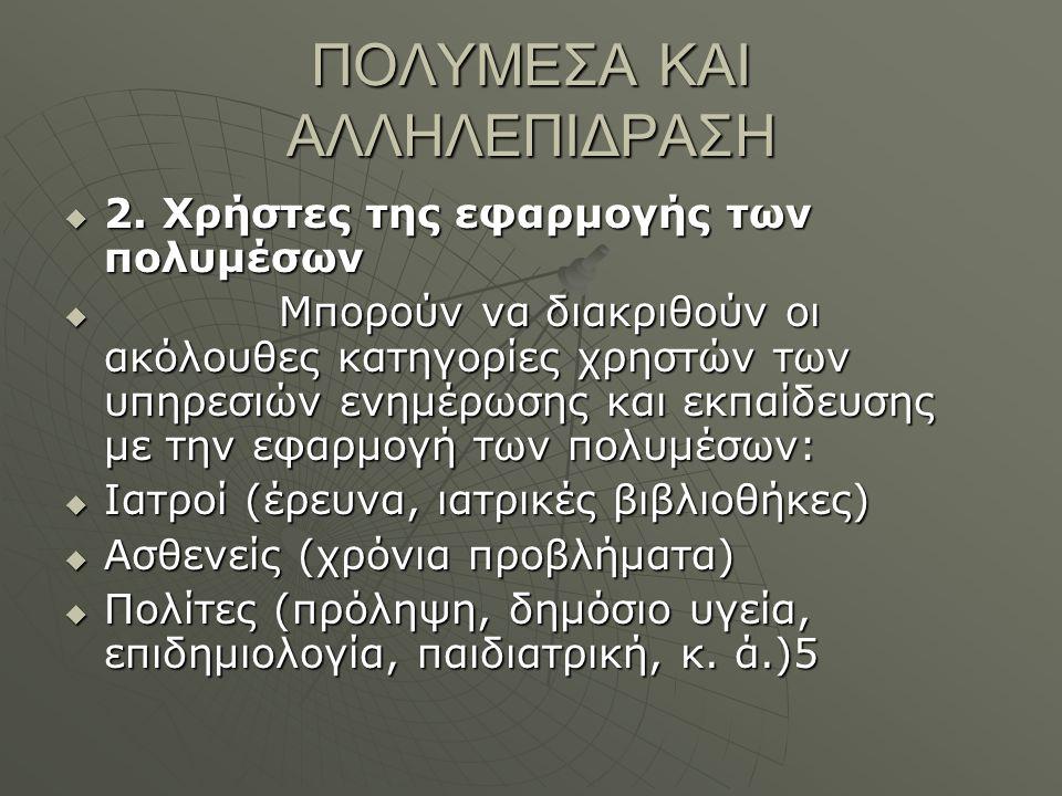 ΠΟΛΥΜΕΣΑ ΚΑΙ ΑΛΛΗΛΕΠΙΔΡΑΣΗ  2.