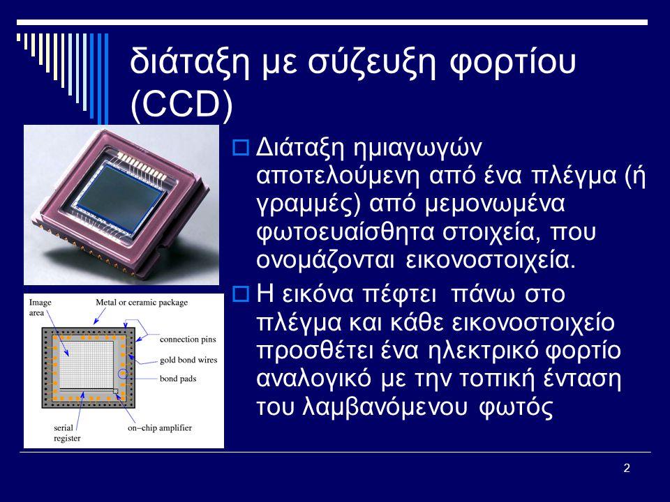 2 διάταξη με σύζευξη φορτίου (CCD)  Διάταξη ημιαγωγών αποτελούμενη από ένα πλέγμα (ή γραμμές) από μεμονωμένα φωτοευαίσθητα στοιχεία, που ονομάζονται εικονοστοιχεία.