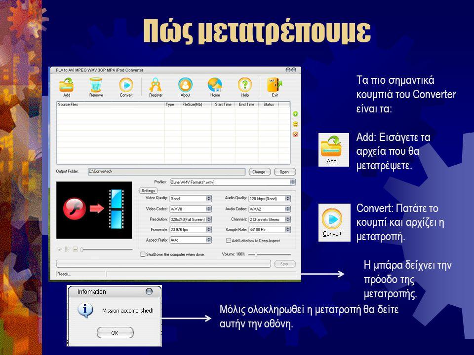 Πώς μετατρέπουμε Τα πιο σημαντικά κουμπιά του Converter είναι τα: Add: Εισάγετε τα αρχεία που θα μετατρέψετε.