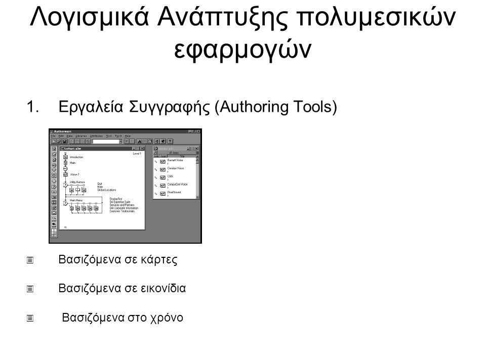 Λογισμικά Ανάπτυξης πολυμεσικών εφαρμογών 1.Εργαλεία Συγγραφής (Authoring Tools)  Βασιζόμενα σε κάρτες  Βασιζόμενα σε εικονίδια  Βασιζόμενα στο χρόνο