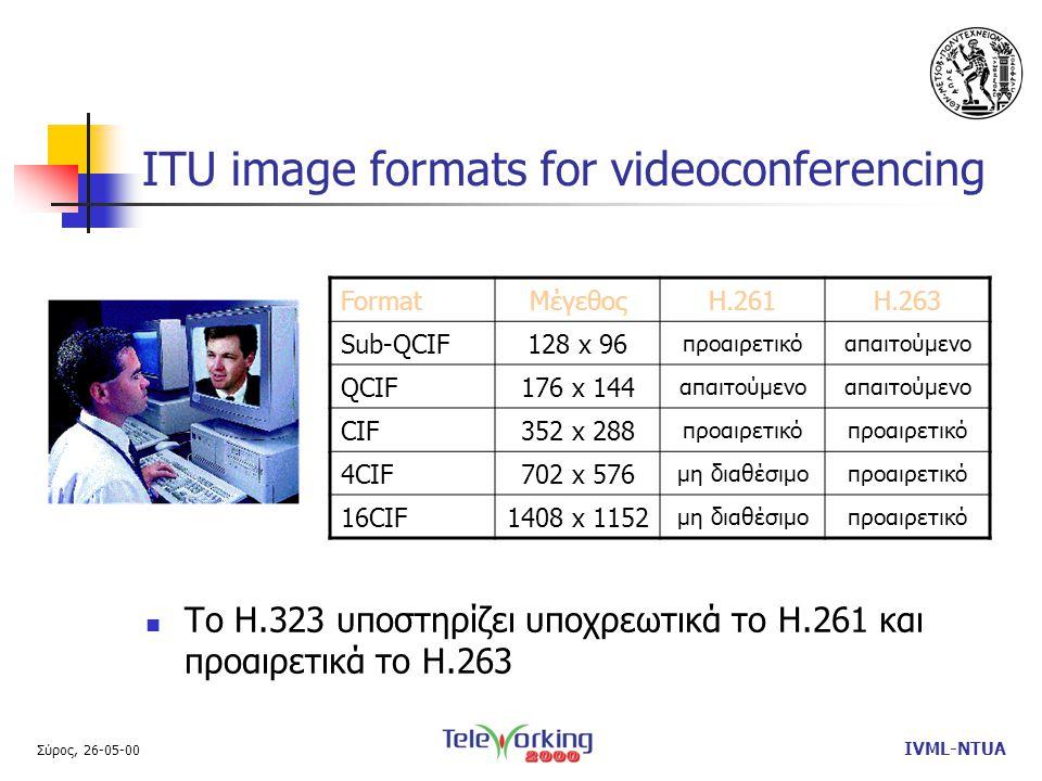 Σύρος, 26-05-00 IVML-NTUA ITU image formats for videoconferencing  Το Η.323 υποστηρίζει υποχρεωτικά το Η.261 και προαιρετικά το Η.263 FormatΜέγεθοςΗ.261Η.263 Sub-QCIF128 x 96 προαιρετικόαπαιτούμενο QCIF176 x 144 απαιτούμενο CIF352 x 288 προαιρετικό 4CIF702 x 576 μη διαθέσιμοπροαιρετικό 16CIF1408 x 1152 μη διαθέσιμοπροαιρετικό