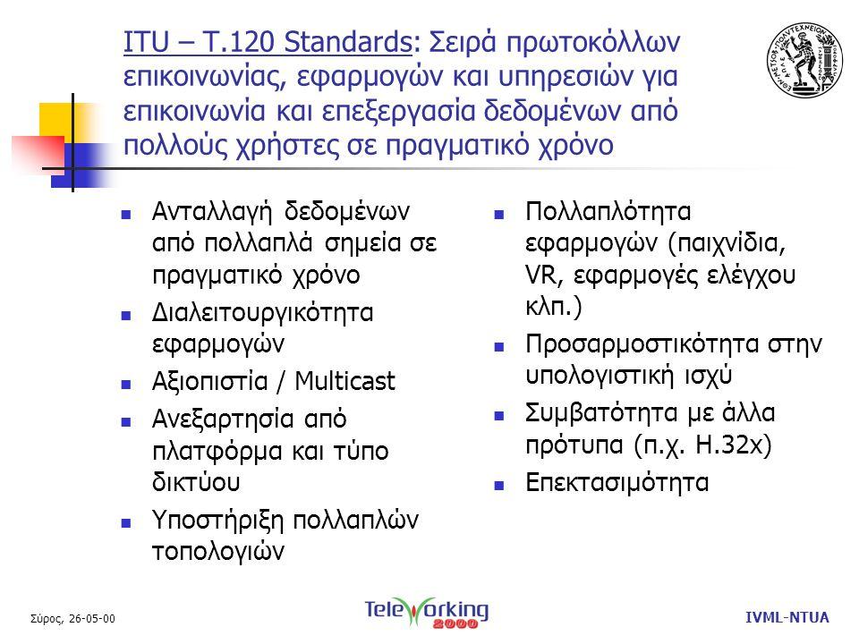 Σύρος, 26-05-00 IVML-NTUA ITU – T.120 Standards: Σειρά πρωτοκόλλων επικοινωνίας, εφαρμογών και υπηρεσιών για επικοινωνία και επεξεργασία δεδομένων από πολλούς χρήστες σε πραγματικό χρόνο  Ανταλλαγή δεδομένων από πολλαπλά σημεία σε πραγματικό χρόνο  Διαλειτουργικότητα εφαρμογών  Αξιοπιστία / Multicast  Ανεξαρτησία από πλατφόρμα και τύπο δικτύου  Υποστήριξη πολλαπλών τοπολογιών  Πολλαπλότητα εφαρμογών (παιχνίδια, VR, εφαρμογές ελέγχου κλπ.)  Προσαρμοστικότητα στην υπολογιστική ισχύ  Συμβατότητα με άλλα πρότυπα (π.χ.