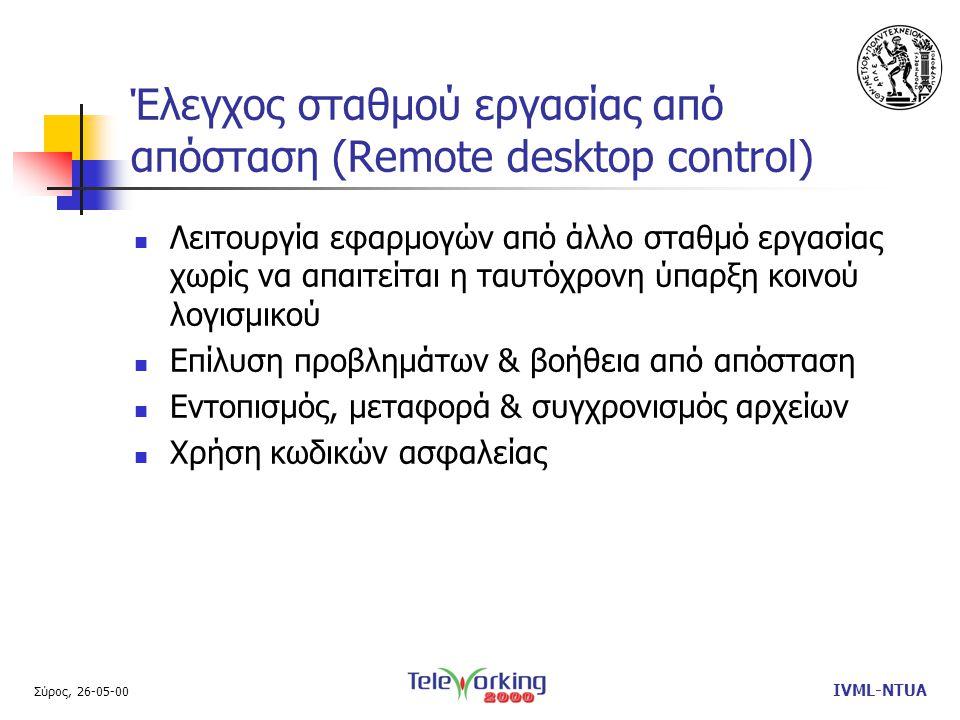 Σύρος, 26-05-00 IVML-NTUA Έλεγχος σταθμού εργασίας από απόσταση (Remote desktop control)  Λειτουργία εφαρμογών από άλλο σταθμό εργασίας χωρίς να απαιτείται η ταυτόχρονη ύπαρξη κοινού λογισμικού  Επίλυση προβλημάτων & βοήθεια από απόσταση  Εντοπισμός, μεταφορά & συγχρονισμός αρχείων  Χρήση κωδικών ασφαλείας