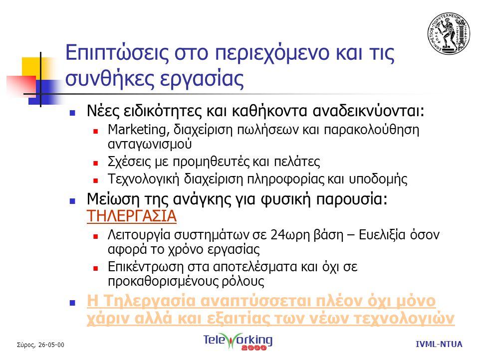 Σύρος, 26-05-00 IVML-NTUA Επιπτώσεις στο περιεχόμενο και τις συνθήκες εργασίας  Νέες ειδικότητες και καθήκοντα αναδεικνύονται:  Marketing, διαχείριση πωλήσεων και παρακολούθηση ανταγωνισμού  Σχέσεις με προμηθευτές και πελάτες  Τεχνολογική διαχείριση πληροφορίας και υποδομής  Μείωση της ανάγκης για φυσική παρουσία: ΤΗΛΕΡΓΑΣΙΑ  Λειτουργία συστημάτων σε 24ωρη βάση – Ευελιξία όσον αφορά το χρόνο εργασίας  Επικέντρωση στα αποτελέσματα και όχι σε προκαθορισμένους ρόλους  Η Τηλεργασία αναπτύσσεται πλέον όχι μόνο χάριν αλλά και εξαιτίας των νέων τεχνολογιών