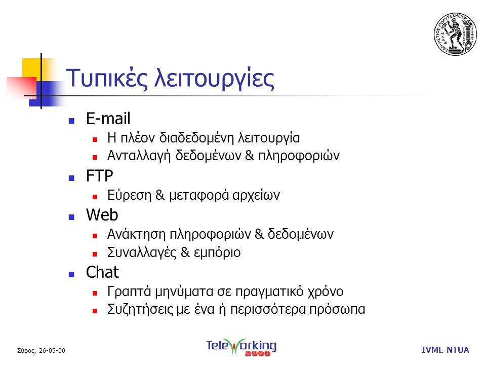 Σύρος, 26-05-00 IVML-NTUA Τυπικές λειτουργίες  E-mail  Η πλέον διαδεδομένη λειτουργία  Ανταλλαγή δεδομένων & πληροφοριών  FTP  Εύρεση & μεταφορά αρχείων  Web  Ανάκτηση πληροφοριών & δεδομένων  Συναλλαγές & εμπόριο  Chat  Γραπτά μηνύματα σε πραγματικό χρόνο  Συζητήσεις με ένα ή περισσότερα πρόσωπα